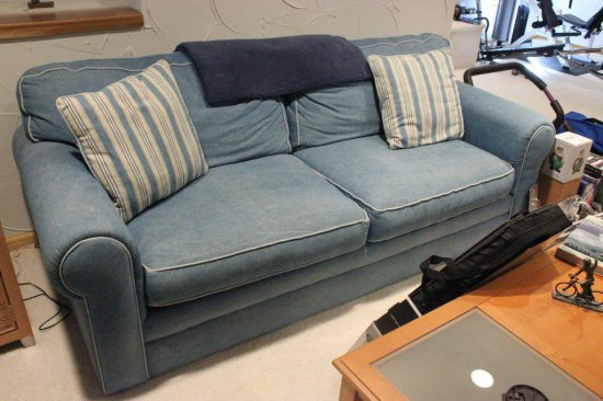 JCP Home Collection Denim Blue Couch, Chair & Ottoman Set