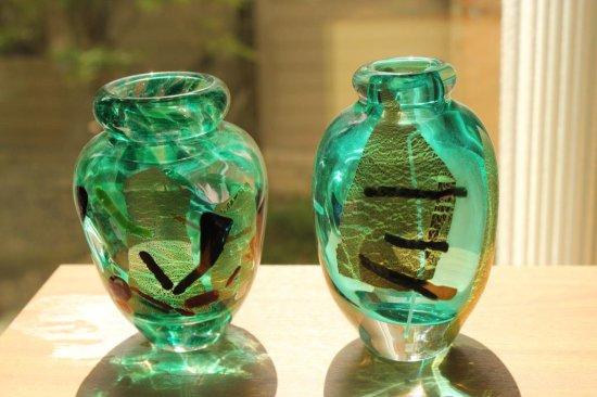 Pair Of Steve Kemmerley Green Glass Vases