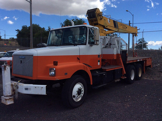 (Ephrata, WA) National 647B, Hydraulic Crane mounted behind cab on 1991 White/GMC WG T/A Flatbed Tru