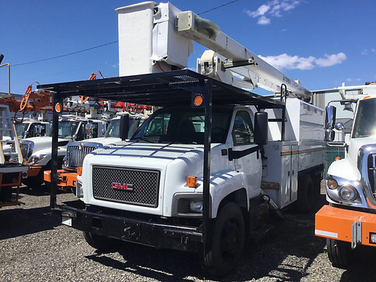 (Portland, OR) Terex/HiRanger XT55, Over-Center Bucket Truck mounted behind cab on 2009 GMC C7500 Ch