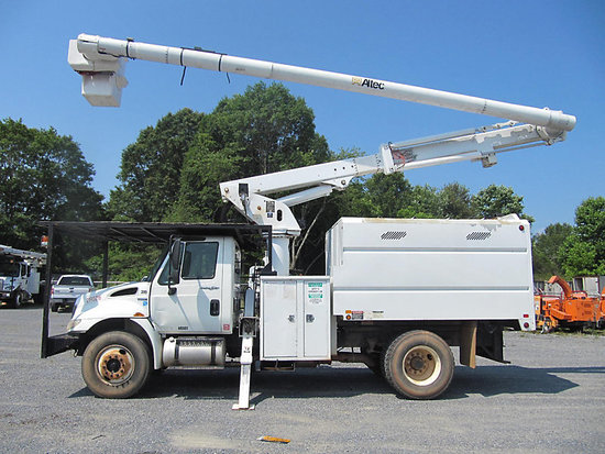 (Shelby, NC) Altec LRV-56, Over-Center Bucket Truck mounted behind cab on 2009 International 4300 Ch