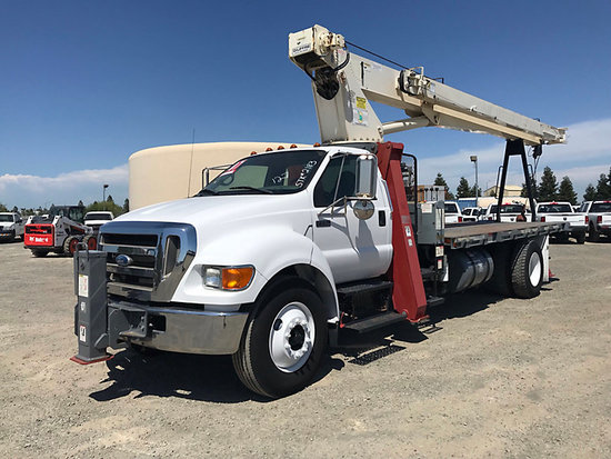 (Dixon, CA) Terex BT3670, Hydraulic Crane mounted behind cab on 2007 Ford F750 Flatbed Truck, 852 PT