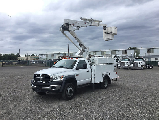 (Portland, OR) HiRanger LT38, Articulating & Telescopic Bucket Truck mounted behind cab on 2010 Dodg