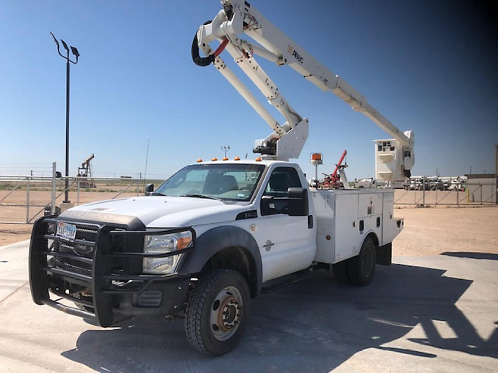 (Odessa, TX) Altec AT37G, Articulating & Telescopic Bucket Truck mounted behind cab on 2011 Ford F55