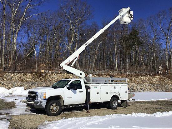 (Shrewsbury, MA) Versalift TEL29I01, Telescopic Bucket Truck mounted behind cab on 2011 Chevrolet K3