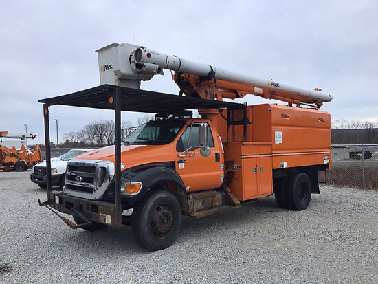 (Shrewsbury, MA) Altec LRV-55, Over-Center Bucket Truck mounted behind cab on 2010 Ford F750 Chipper
