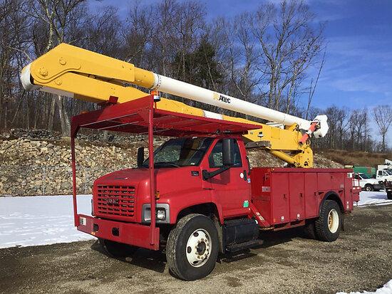 (Shrewsbury, MA) Altec AA755L, Material Handling Bucket Truck rear mounted on 2003 GMC C7500 Utility