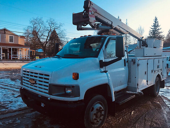 (Deposit, NY) Versalift SST37ENH, Articulating & Telescopic Bucket Truck mounted behind cab on 2008