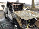 (Peru, IN) 2012 Ford F350 4x4 Dump Truck Totaled due to fire.