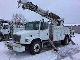 (Des Moines, IA) Altec D945-TR, Digger Derrick rear mounted on 2002 Freightliner FL80 Utility Truck