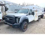 (Smock, PA) 2011 Ford F450 4x4 Chipper Dump Truck Not running, bad starter. Minor body damage, detac