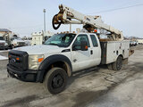 (South Beloit, IL) Altec AT40-G, Articulating & Telescopic Bucket Truck mounted behind cab on 2012 F