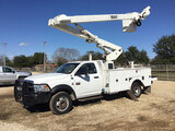 (Hondo, TX) Versalift VO40MHI01, Over-Center Material Handling Bucket Truck mounted behind cab on 20