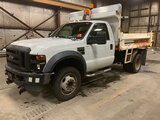 (Neenah, WI) 2008 Ford F450 Dump Truck runs and drives, western plow hook ups and remote, salter con