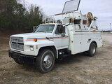 (Chester, VA) TSE Pengo DPT-30-B, Single Drum Puller mounted on 1990 Ford F700 Utility Truck runs an