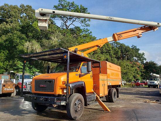 Altec LRV-55, Over-Center Bucket Truck mounted behind cab on 2008 GMC C7500 Chipper Dump Truck runs,