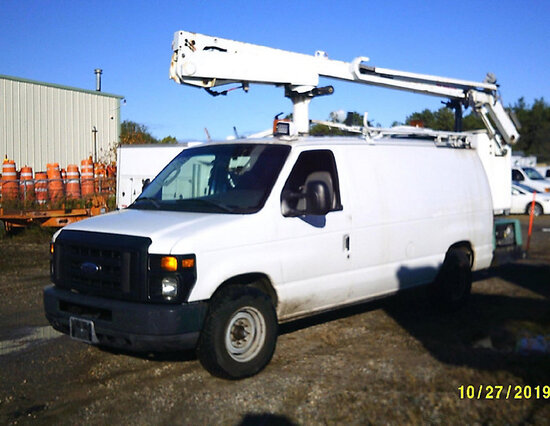 DUR-A-LIFT DVS29, Telescopic Non-Insulated Bucket Van mounted behind cab on 2008 Ford E350 Cargo Van