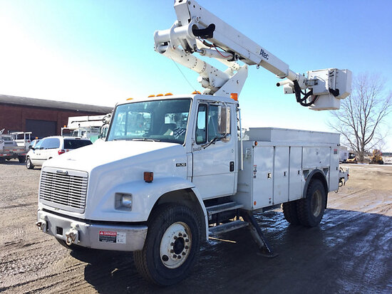 Altec TA41M, Articulating & Telescopic Material Handling Bucket Truck mounted behind cab on 2002 Fre