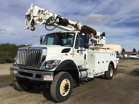 Altec DM47T, Digger Derrick rear mounted on 2011 International 7300 4x4 Utility Truck Runs, drives a