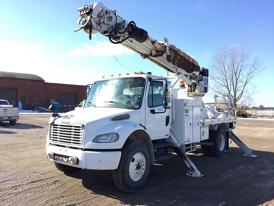 Altec DM45-TR, Digger Derrick rear mounted on 2007 Freightliner M2 106 Flatbed/Utility Truck Runs wi
