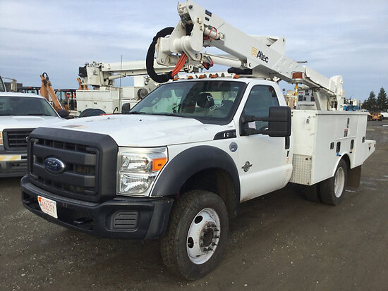 Altec AT37G, Articulating & Telescopic Bucket Truck mounted behind cab on 2013 Ford F550 Service Tru