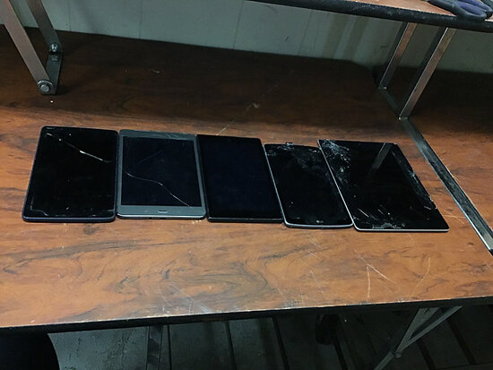 Tablets (Possibly locked Possibly locked, no chargers, some damage