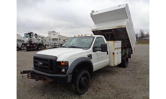 2009 Ford F450 4x4 Chipper Dump Truck runs and drives, dump body operates, body damage