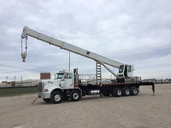 QMC 70100R, Hydraulic Crane rear mounted on 2013 Peterbilt 367 Tri-Axle Flatbed Truck Runs with jump
