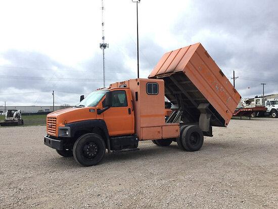 2005 GMC C6500 Chipper Dump Truck runs, moves, operates, check engine and service light on, runs rou