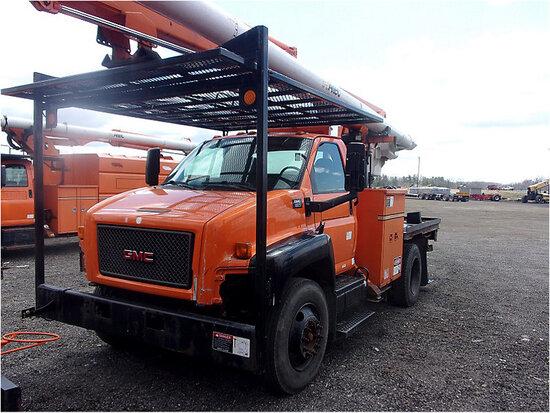 Altec LRV-57RM, Over-Center Bucket Truck rear mounted on 2008 GMC C7500 Flatbed Truck starts, runs,