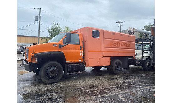 2008 GMC C6500 Chipper Dump Truck jump to start, runs & drives, body damage