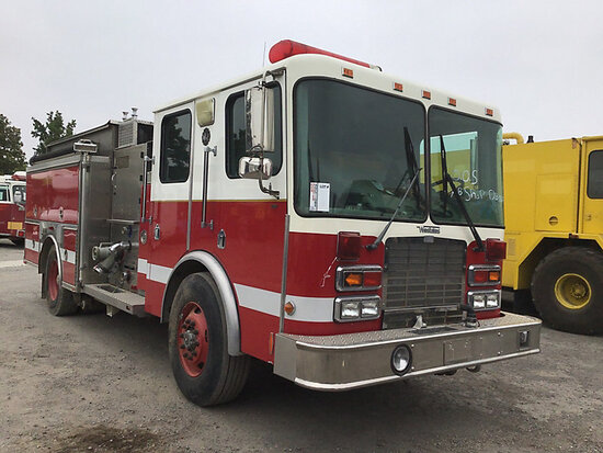 Waterous E-511A, mounted on 1999 HME Inc Pumper/Fire Truck Duplicate Title, runs and drives, subject
