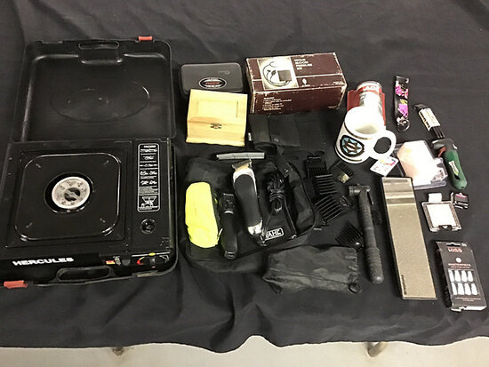 Wahl barber trimmer | portable stove | makeup | blood pressure kit | mirror | cup (Used) NOTE: This