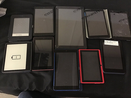 10 various brand tablets | possibly locked | 1 has cracked screen (Used) NOTE: This unit is being so