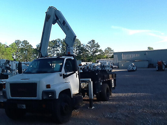 National N80, Hydraulic Knuckle Boom Crane mounted behind cab on 2006 GMC C8500 Flatbed Truck starts