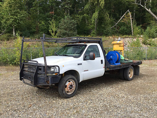 2004 Ford F550 4x4 Flatbed Truck runs, drives, re-manufactured engine, pony motor runs, ChemGrout sy