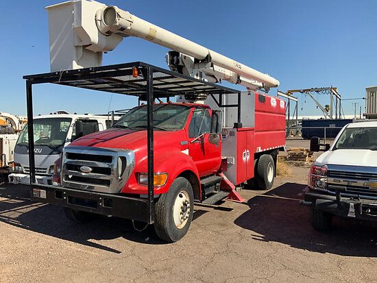 Altec LRV-56, Over-Center Bucket Truck mounted behind cab on 2007 Ford F750 Chipper Dump Truck minor