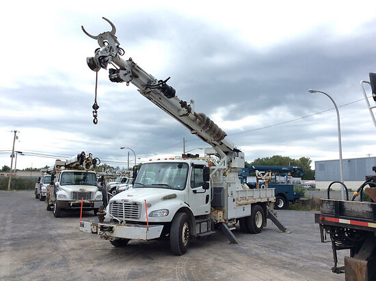 Altec DC47-BR, Digger Derrick rear mounted on 2011 Freightliner M2 106 Flatbed/Utility Truck Runs, D