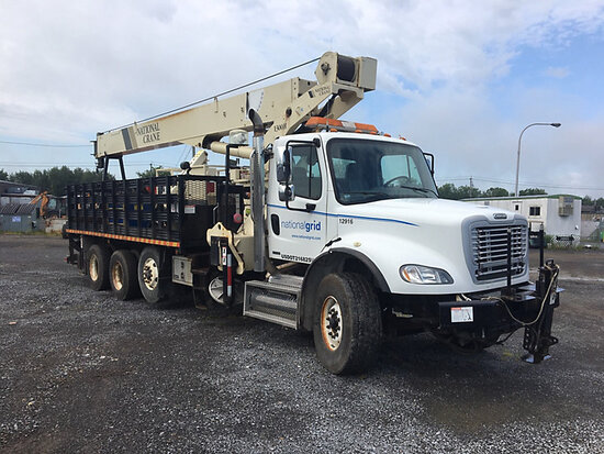 National 1300H, Hydraulic Crane mounted behind cab on 2009 Freightliner M2 112 T/A Stake Truck Runs,