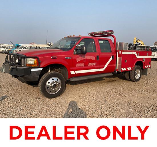 2001 Ford F450 4x4 Crew-Cab Brush Fire Truck Runs & Drives