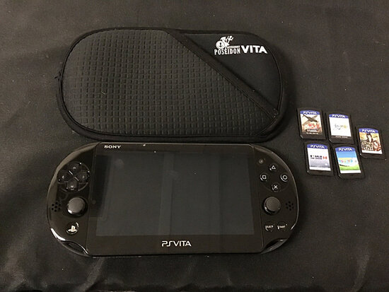 Sony ps vita with 5 games and soft case   no plugs (Used ) NOTE: This unit is being sold AS IS/WHERE