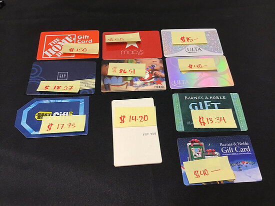 10 assorted gift cards (balance unknown) (Used ) NOTE: This unit is being sold AS IS/WHERE IS via Ti