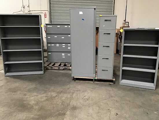 Assorted metal cabinets (Used) NOTE: This unit is being sold AS IS/WHERE IS via Timed Auction and is