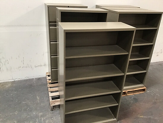 5 Bookshelves | 1 file cabinet (Used) NOTE: This unit is being sold AS IS/WHERE IS via Timed Auction