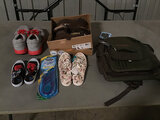Assorted shoes | backpack | (Used ) NOTE: This unit is being sold AS IS/WHERE IS via Timed Auction a
