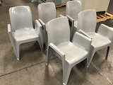 5 plastic stackable chairs (Used) NOTE: This unit is being sold AS IS/WHERE IS via Timed Auction and
