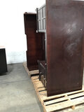 1 wood Desk with hutch | 1 small wood cabinet (Used ) NOTE: This unit is being sold AS IS/WHERE IS v