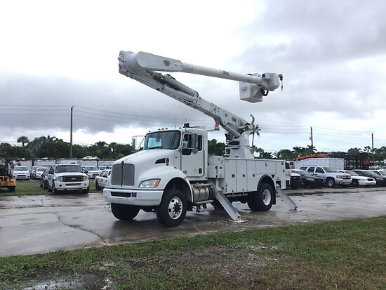 Altec AM55-MH, Over-Center Material Handling Bucket Truck rear mounted on 2016 Kenworth T370 4x4 Uti
