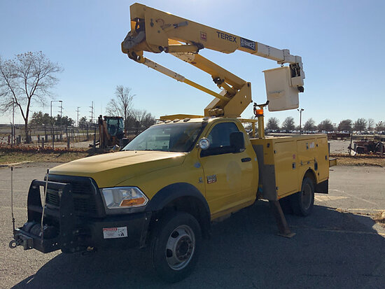 Terex/HiRanger TL38-P, Articulating & Telescopic Bucket Truck mounted behind cab on 2012 Dodge Ram 5