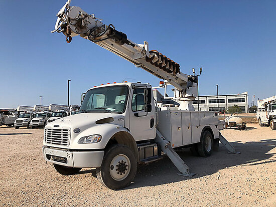 Altec DM47TR, Digger Derrick rear mounted on 2015 Freightliner M2 106 4x4 Utility Truck Runs, Moves